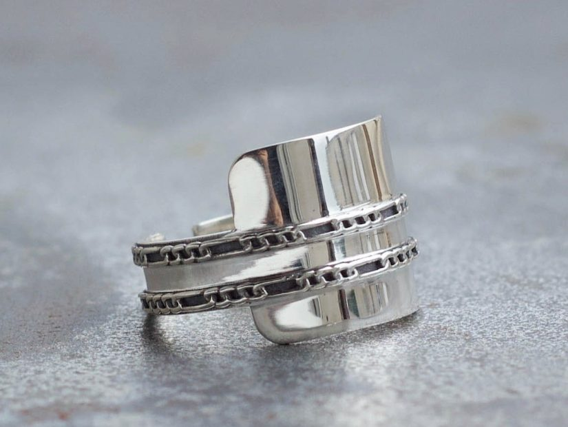 Antelope Bijoux Rock Argent Sterling Recycle Bague Chaine Harley