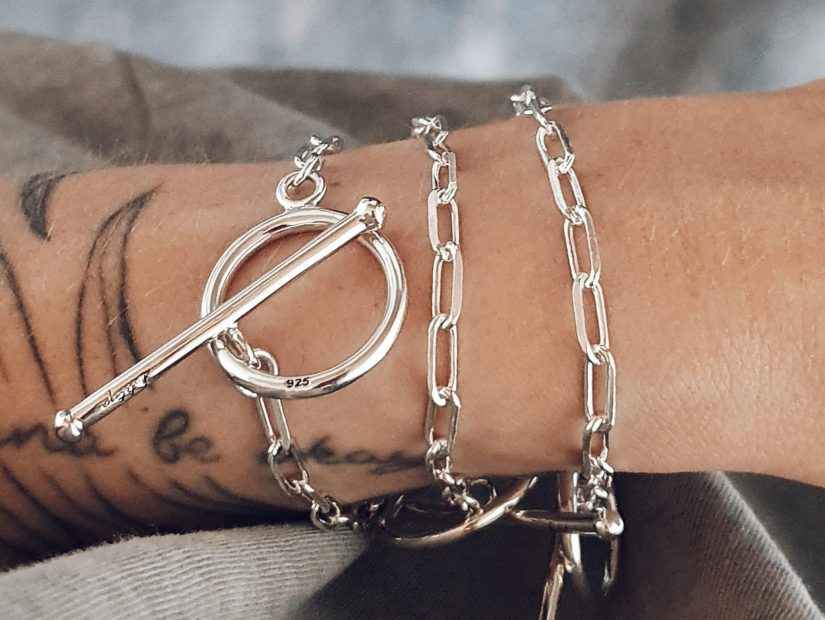 Antelope bijoux rock argent sterling recycle bracelet chaine Touch Me